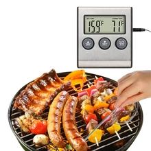 Cyfrowy termometr kuchenny piekarnik gotowania żywności mięso grill sondy ze stali nierdzewnej minutnik woda mleko temperatura ustawić dźwięk narzędzia alarmowe tanie tanio Gospodarstw domowych termometry Termometry kuchenne Z tworzywa sztucznego
