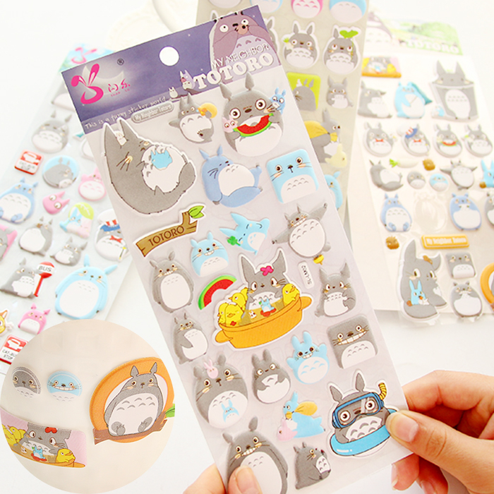 все цены на Kawaii My Neighbor Totoro Cartoon 3D Stickers Diary Sticker Scrapbook Decoration PVC Stationery Stickers