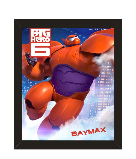 home decor big hero 6 baymax movie poster with picture frame 10x8 inches black framed wall art 9000