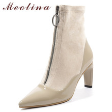 Meotina Women Ankle Boots Autumn Natural Genuine Leather Thick Heel Short Boots Zipper Super High Heel Shoes Lady Winter Size 42 wetkiss fashion patchwork genuine leather autumn winter boots charming ankle boots side zipper women s high hoof heel shoes new
