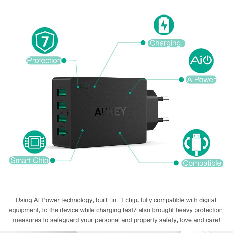 AUKEY USB Charger 4 Port 40W Fast Wall Travel Charger Adapter For ...