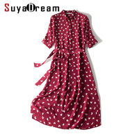 Women Long Dress 100%Real Silk Crepe Hearts Print Wine Dresses For Women Office Lady 2019 New Summer Belted Dresses
