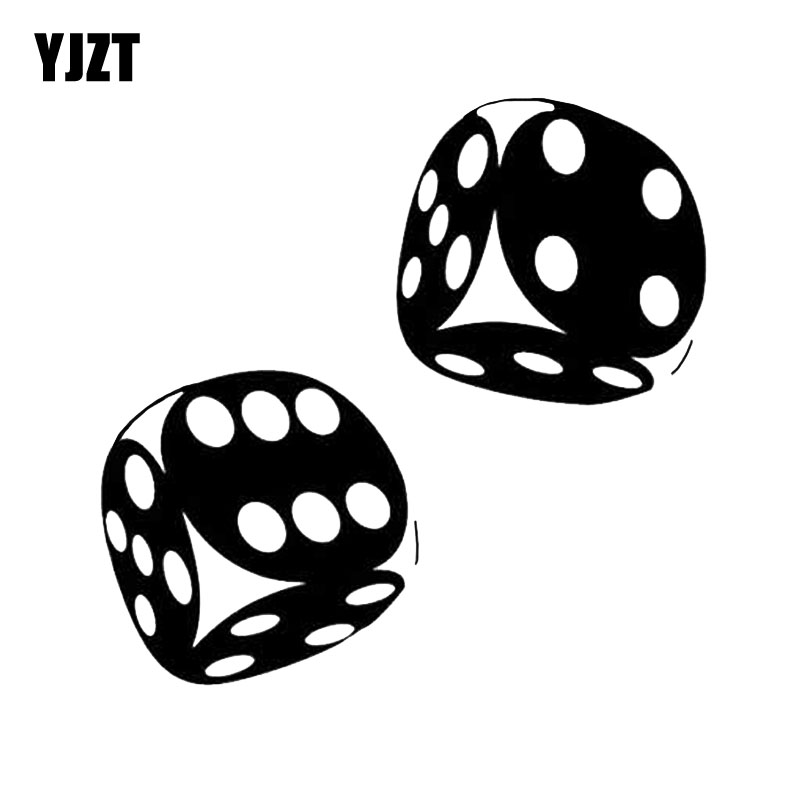 YJZT 13.4*13CM Interesting Car Sticker Casino Poker Dice High Quality Decoration Vinyl Graphic C12-0060