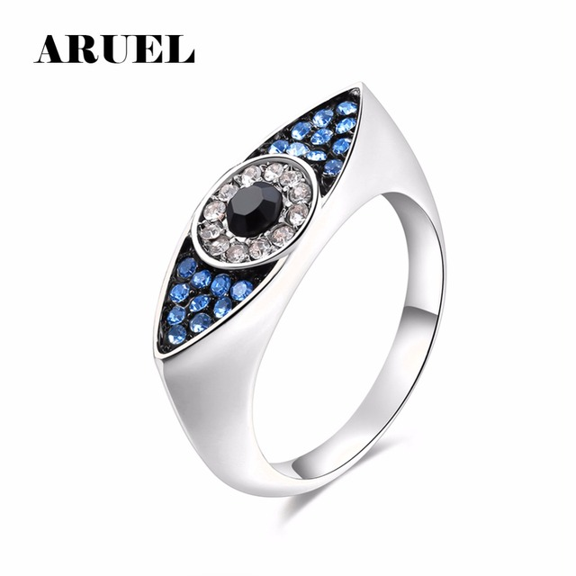 ARUEL Dazzling Blue Evil Eyes Rings for Women Sterling Party fashion Wedding gir
