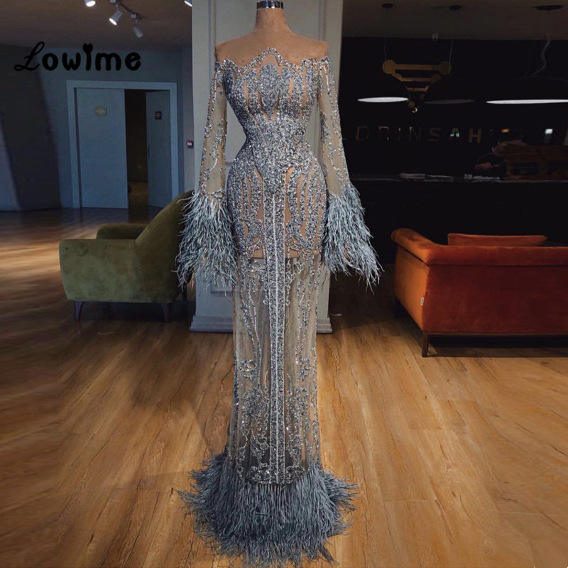 Illusion Feather Evening Dresses 2018 Arabic Dubai Turkish Muslim Party Gown Formal Dress Robe De Soiree Celebrity Pageant Dress