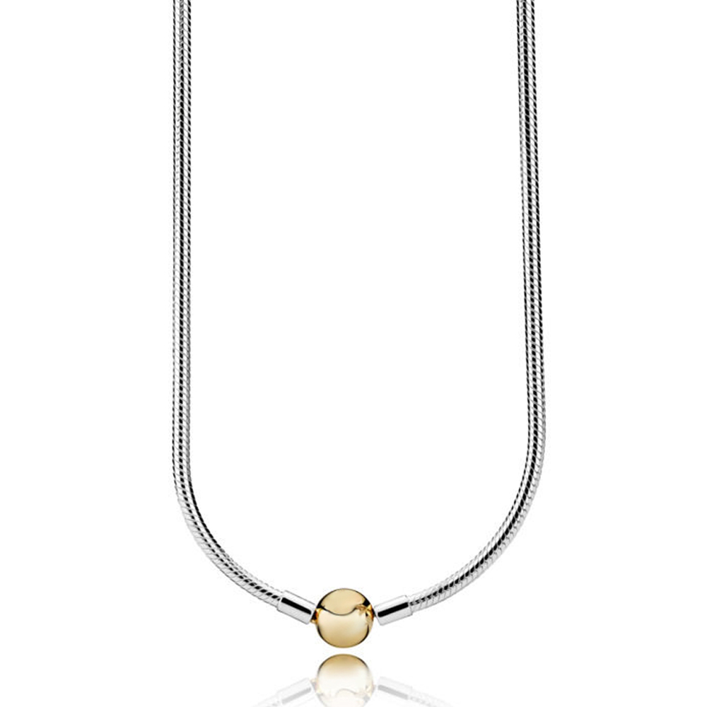 NEW 2018 NEW 100% 925 Sterling Silver Charm Necklace with 14 Gold Clasp Fit DIY Bead Chain Suitable Girl Gift Jewelry