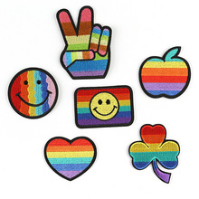 Smile Rainbow Iron on Patches for Clothing Lgbt Flag Gay Pride Embroidered Hand Patch DIY Sticker Clothes Appliques