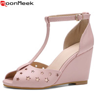 MoonMeek 2017 Hot Sale New Arrive Women Super High Sandals Fashion Peep Toe Buckle Wedges Shoes
