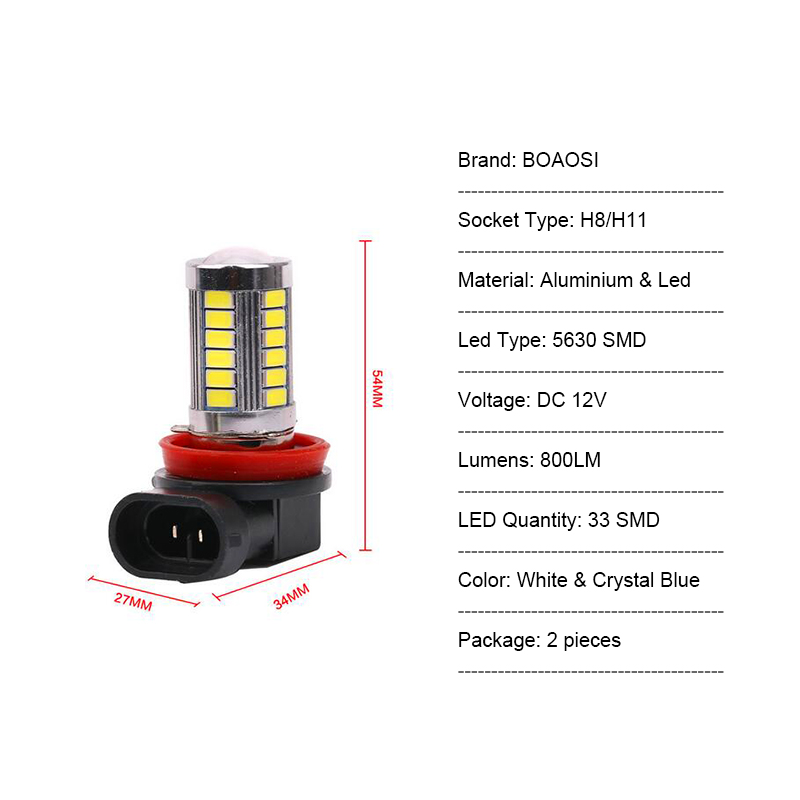 BOAOSI 2x H11 LED canbus 5630 ampüller FORD MONDEO MK3 MK4 C-MAX - Avtomobil işıqları - Fotoqrafiya 4