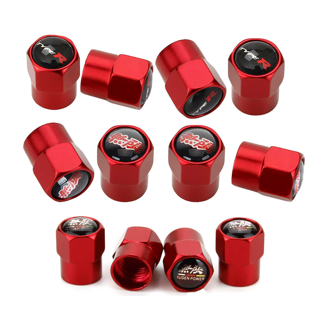Baoxijie 4 Pcs Metal Car Wheel Tire Valve Stem Caps for Civic Accord CRV Pilot HR-V Styling Decoration Accessories red
