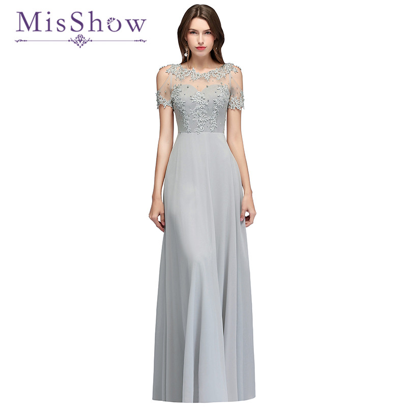 Floor Length A Line Chiffon   Bridesmaids     Dress   Sexy 2018 New See Through Appliques Beading Women Wedding Party Gown