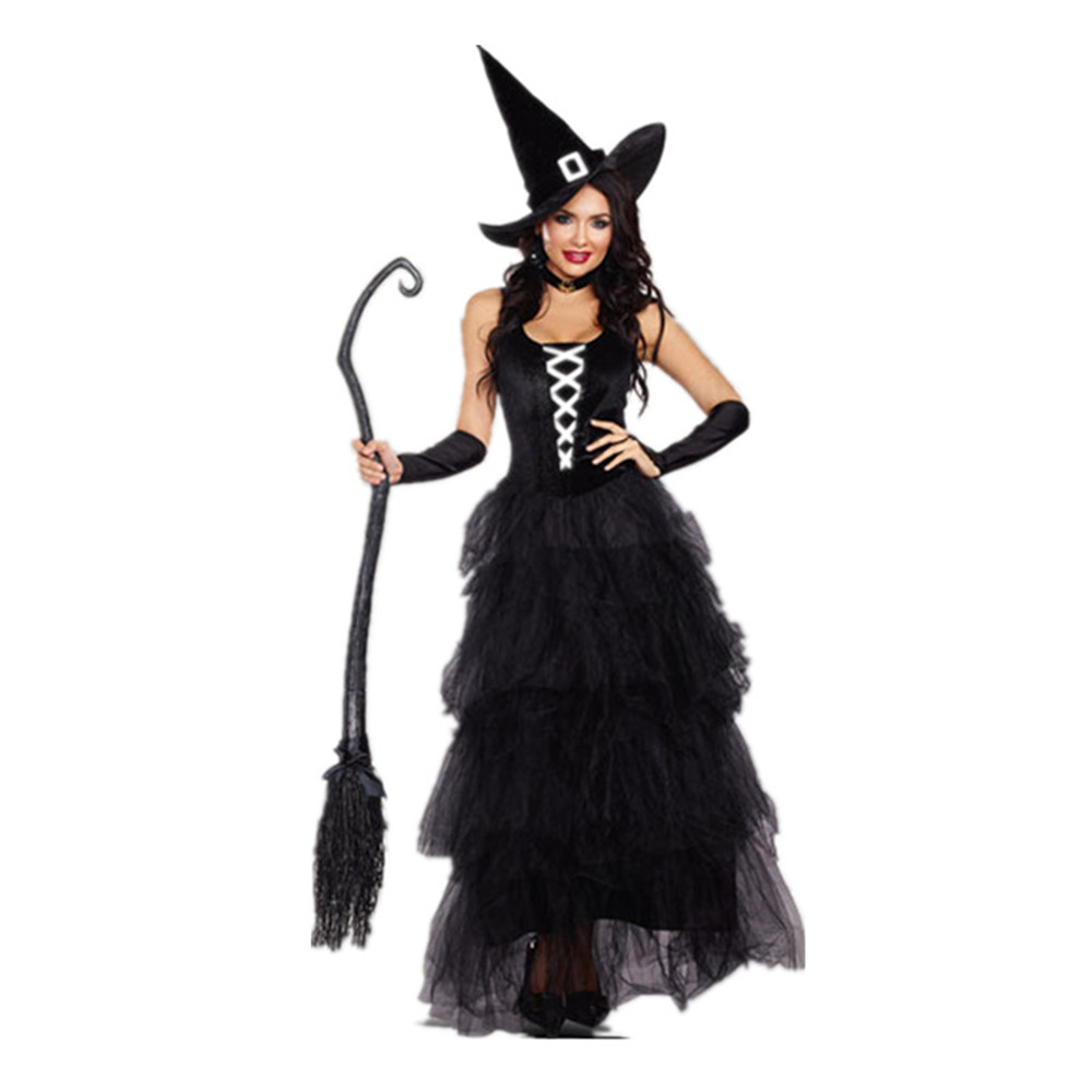 Black Gothic Witch Costume For Adult Women Purim Halloween Cosplay Party Wizards Fancy Dress