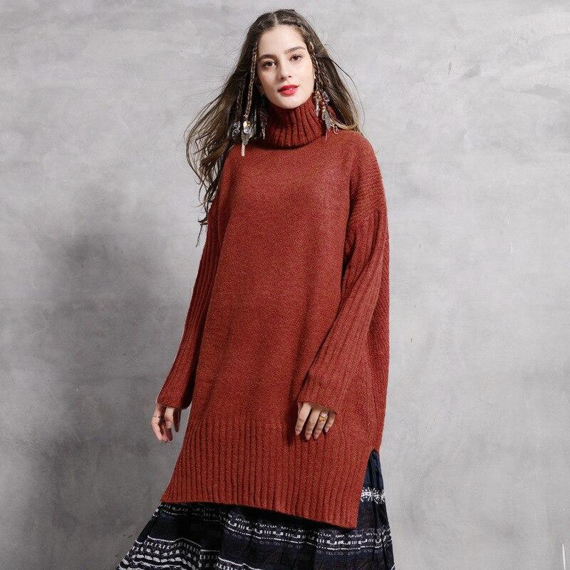 2019 Suéteres Suéter Las Grueso De Primavera Tops Alto Punto Dama Nueva Cuello Larga La Casual Suelto Mujeres fZZX4nqr