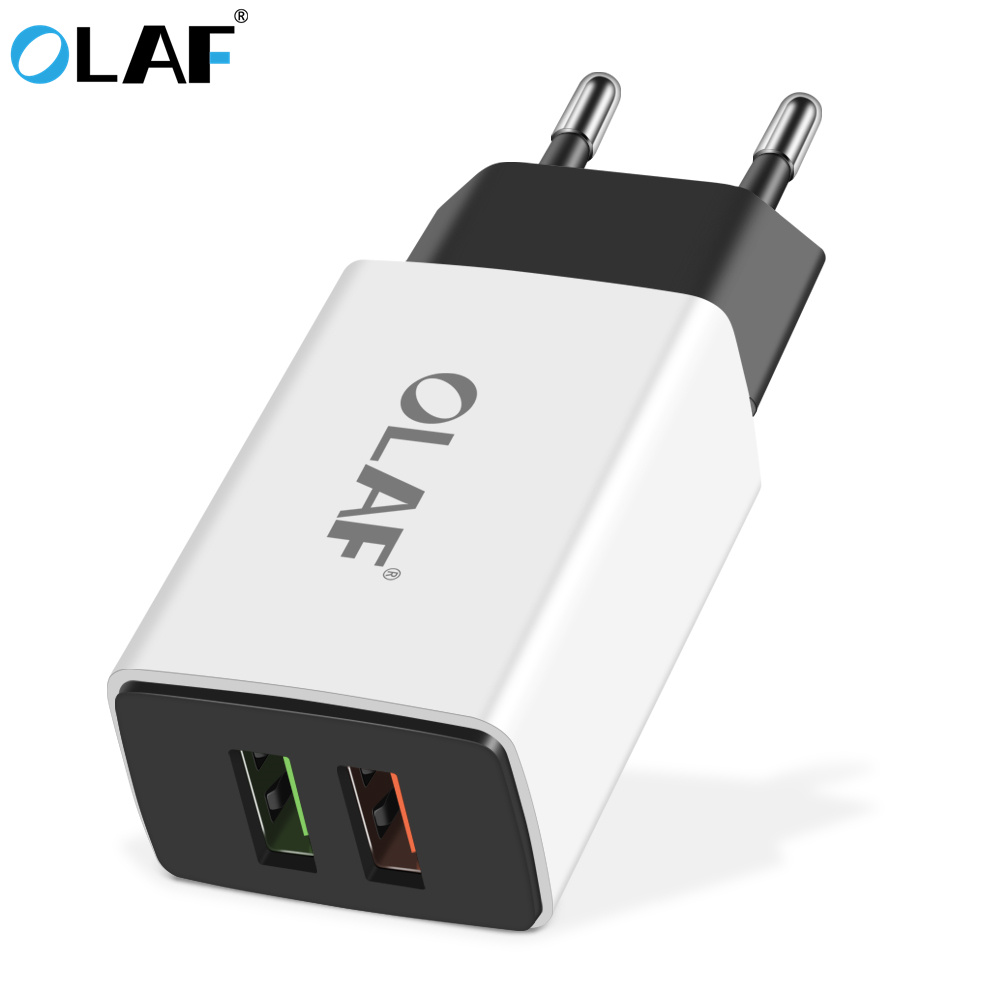 OLAF USB Charger 5V 2.1A Dual USB Wall Charger Universal Fast USB Charging Travel Adapter EU US Plug for Smart iPhone Samsung S9