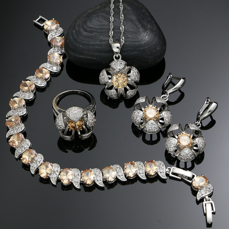 Earrings Bridal-Jewelry-Sets Champagne Necklace-Set Zircon Flowers 925-Silver Vintage