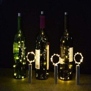 Image 4 - 10pcs/lot 1M 2M Cork Shaped Wine Bottle Lights LED Starry String Lights Copper Wire Christmas holiday new year Bottle Lighs lamp