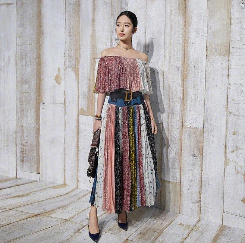 Haute Féminine D'été Imprimé Femmes En Designer Qualité Soie Bohème 2018 Encolure Sexy Midi Piste Mousseline Robe De rdhQstC