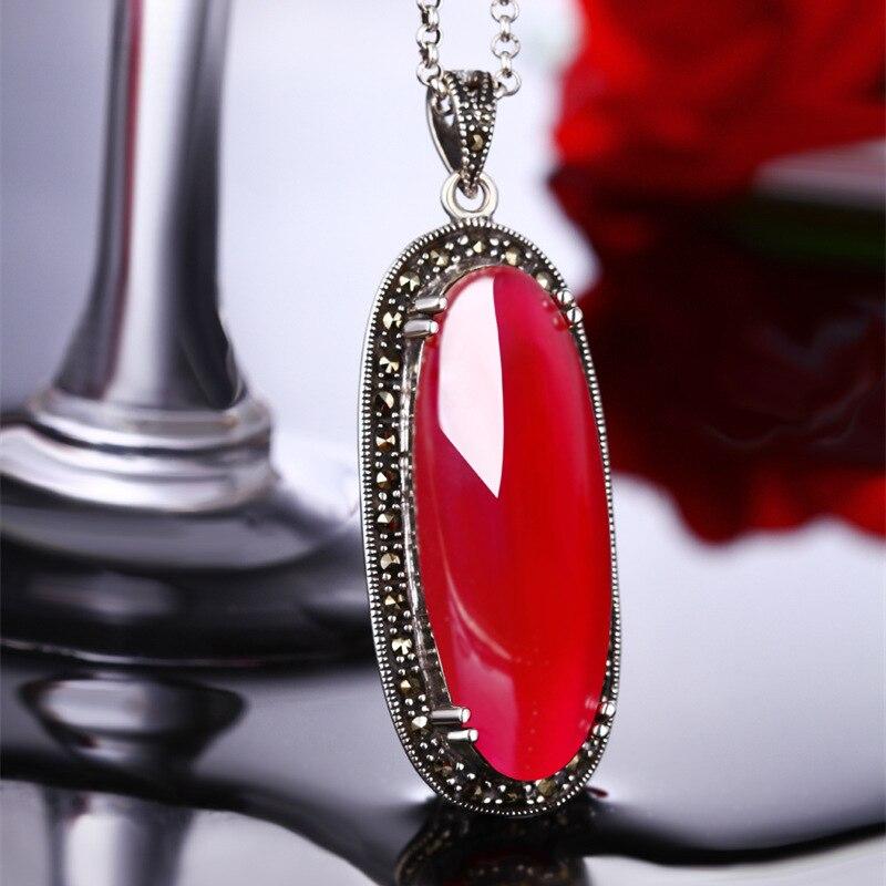 Vrai pur 925 argent rubis pendentif pour les femmes pierres précieuses naturelles exagéré Long pendentif pour chandail chaîne Colgantes Mujer