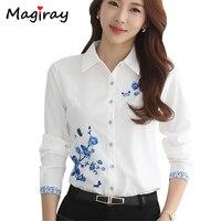 Magiray с длинным рукавом синий цветочный принт блузка для женщин 2019 летний топ элегантный офис плюс размеры Oversiz рубашка белая блузка C181