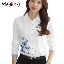 Magiray Long Sleeve Blue Flower Print Blouse Women 2019 Summer Top Elegant Work Office Plus Size Oversiz Shirt White Blouse C181 plus flower print flutter sleeve top