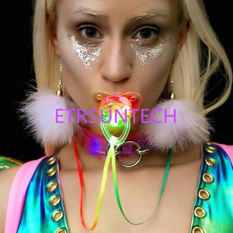200 Teile/los Led Schnuller Pfeife Licht Halsketten Nippel Flashing Kinder Spielzeug Für Weihnachten Bar Partei Liefert