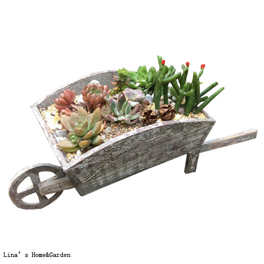 Hand Crafted Shabby Chic Aged Wooden Wheelbarrow Planter Pattern In