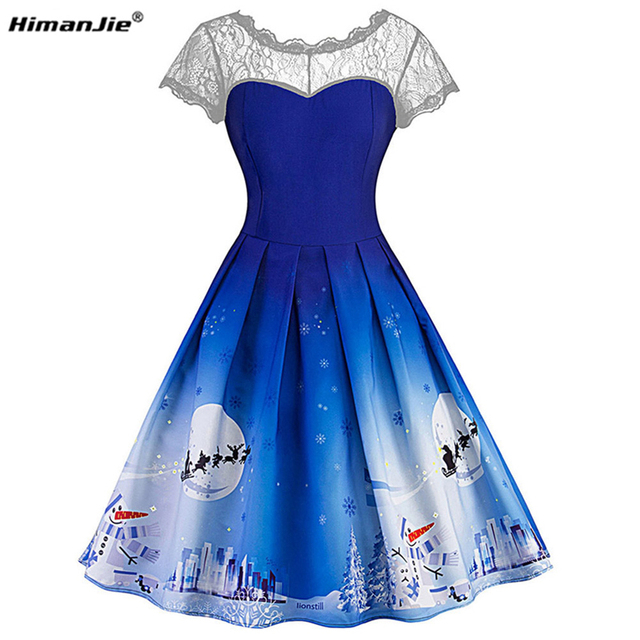 Himanjie Christmas Lace Sleeveless patchwork Party Dress Women 2017 1950s  Autumn spring snow print Vintage Robes