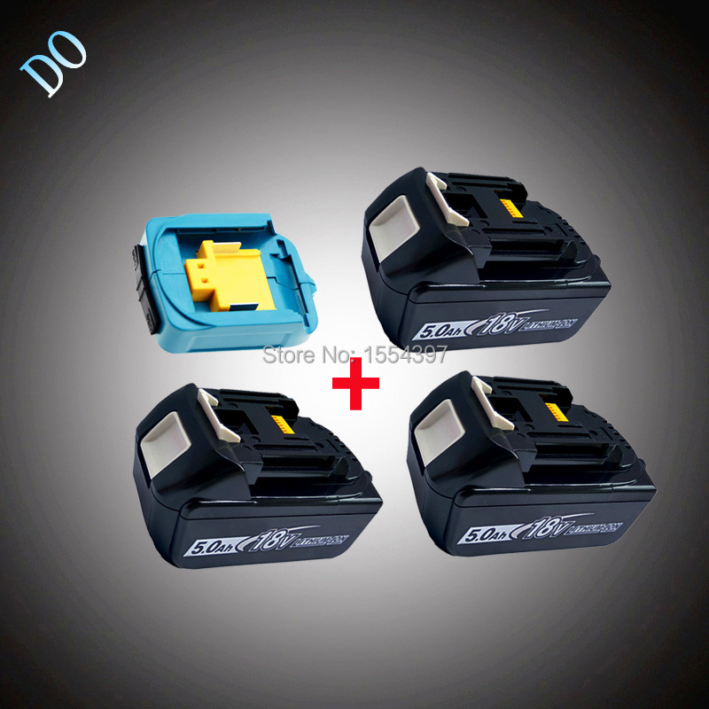 3PCS 18V BL1850 5000mAh Rechargeable Li-ion Power Tool Battery Twin USB Adapter Replacement for Makita 18V BL1830 BL1840 LXT ce testified replacement power tool rechargeable battery for bosch 14 4v li ion 3 0ah 2607335711 bat038 bat040 bat041 bat140