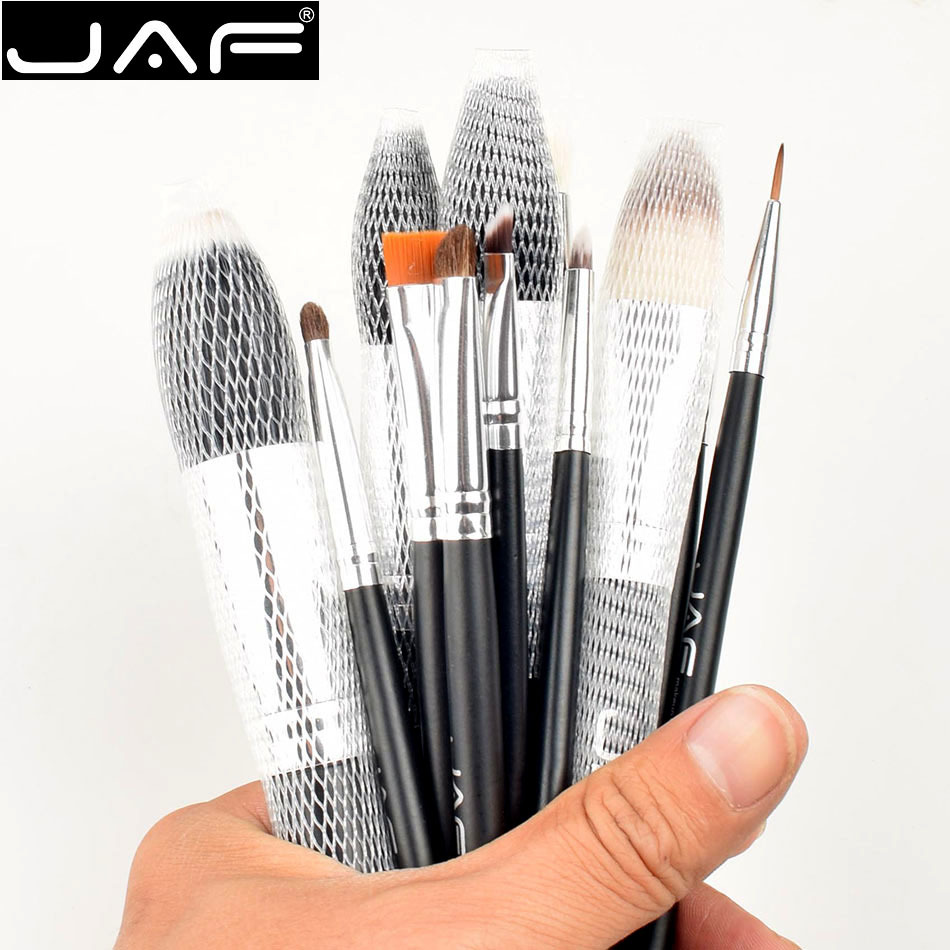 High Quality 12pcs/set JAF Brand Makeup Brushes Make Up Brush Make-up Brush Kit Fast Shipping Zipper Case Bbs тушь make up factory make up factory ma120lwhdr04