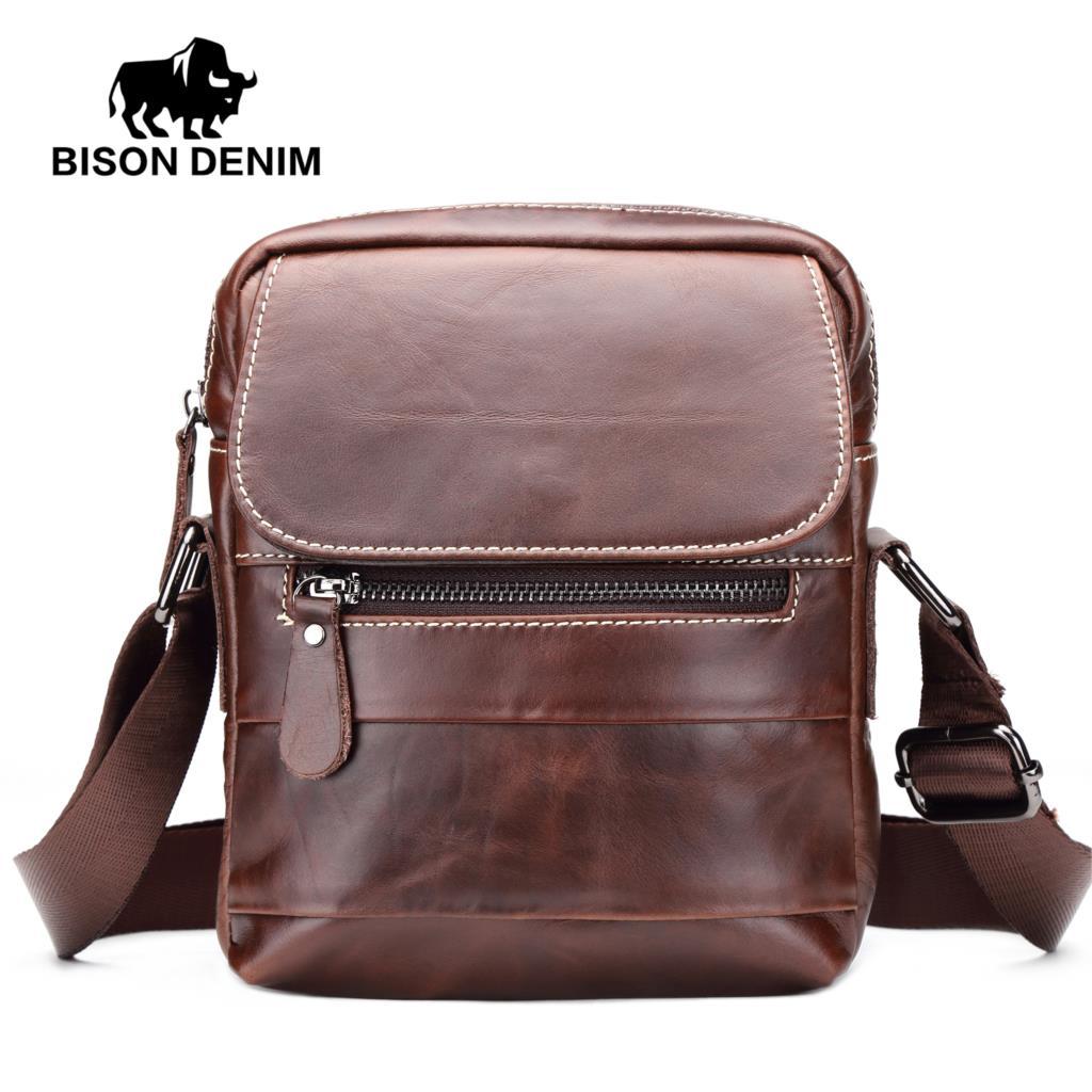 BISON DENIM Brand Mens Genuine Leather Business Bag Small Flap Casual Messenger Bag For Male Crossbody Shoulder Bags W2734-1C