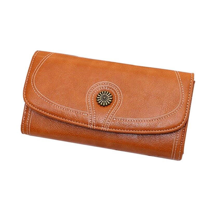 Laamei Large Capacity Women Clutch New Wallet Split Leather Wallet Female Long Wallet Women Hasp Purse Vintage Coin Purse