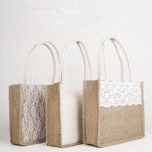 5e5146b0eb95 Мода ручной джут Винтаж Холст сумка для Для женщин кружева Для женщин Сумки  Свадебные Курьерские сумки