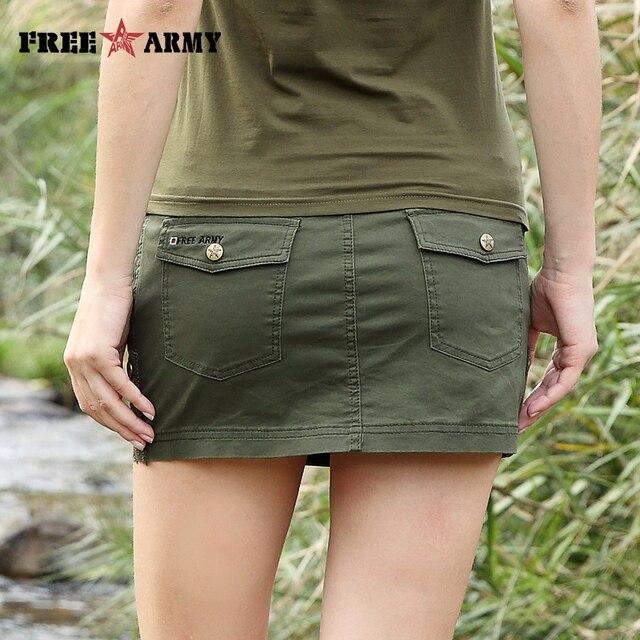 cbc584effb5a32 € 17.75 29% de réduction|Nouveau Sexy Mini jupe pour femmes été mode  militaire mi taille armée vert jupes courtes femmes poches Camo jupe à ...