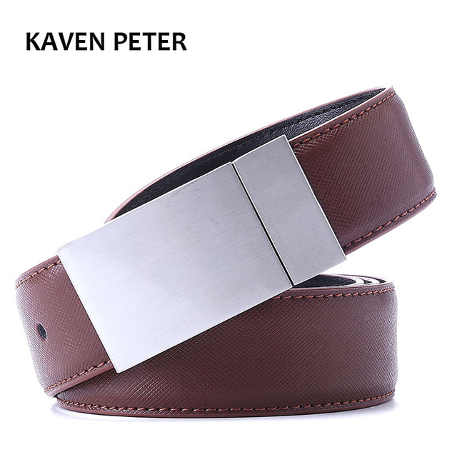 Mens Belts Luxury Brand Design Leather Brown Black Color Dress Belt Adjustable Silver Metallic Belt With Toothpick Pattern