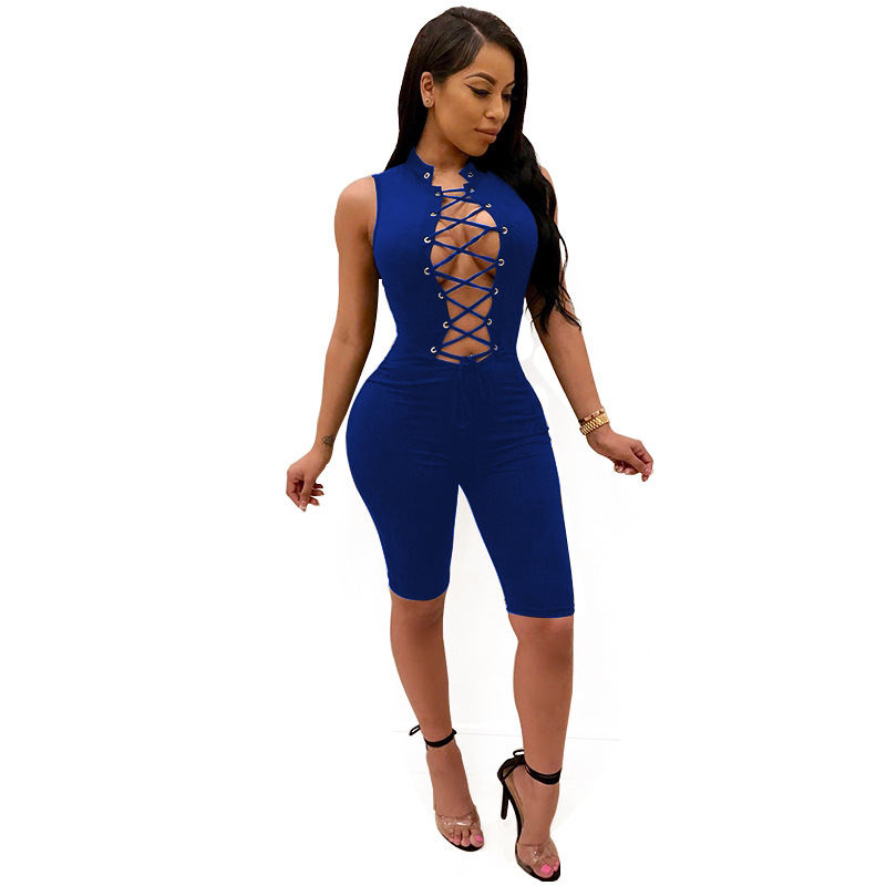 Sexy bandage women Jumpsuits 2018 new summer bodycon hollow out solid playsuits sexy Sle ...