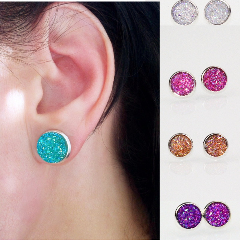 2017 Hot Sale Fashionable Candy Colors Stud Earrings For Women Exquisite Big Stud Earrings Ear Accessories E073