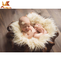 MK 2016 New Infant Baby Swaddle Blanket Faux Fur Soft Blanket Fur Wool Mat Background Carpet Newborn Photography Props Basket