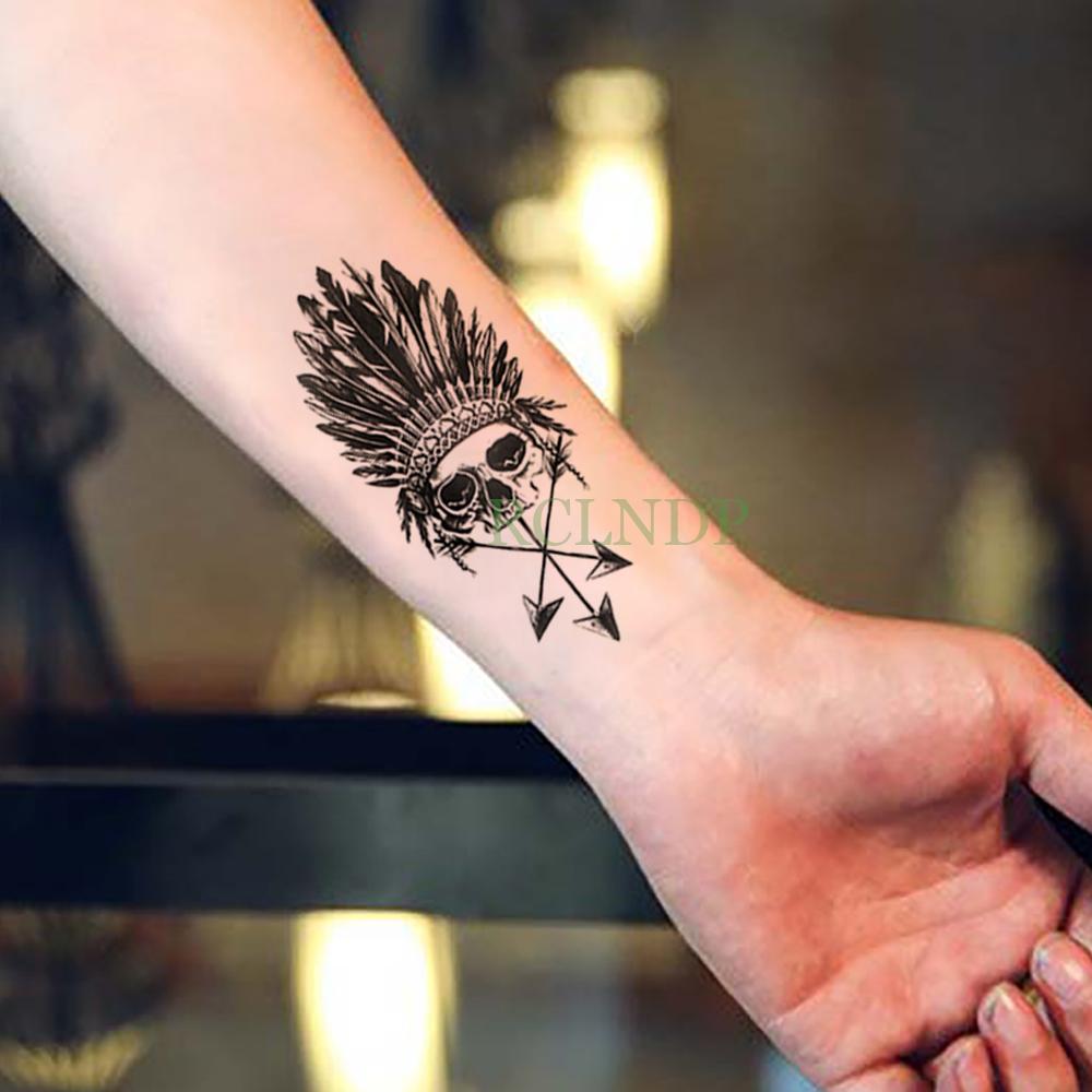 Tahan Air Sementara Tato Stiker Tengkorak Kepala Bulu Palsu Tatto Flash Tato Tatouage Pergelangan Tangan Kaki Tangan Lengan Untuk Gadis Wanita Pria Sementara Tato Aliexpress