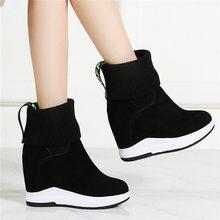 Купить с кэшбэком NAYIDUYUN      Genuine Leather Oxfords Shoes Women Wedges Platform High Heel Party Pumps Slip On Punk Sneaker Shoes Casual Shoes