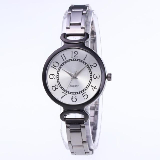 אופנתי יפה פשוט נשים של קוורץ שעון נירוסטה שעון נשים מזכרות עסקי טמפרמנט גבירותיי שעוני יד # D