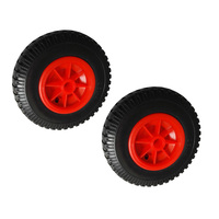 2 Pcs/ Set 10'' 0.88'' Durable Puncture Proof Rubber Tyre on Red Wheel for Kayak Trolley Cart Boat Trailer Kayak Cart Wheels