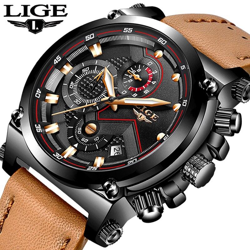 Reloje LIGE Hommes Montre Mâle En Cuir Automatique date Quartz Montres Hommes Marque De Luxe Étanche Sport Horloge Relogio Masculino 9856