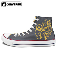 Gray Converse All Star Man Woman Shoes Gear Punk Original Design Hand Painted Shoes High Top Canvas Sneakers Unique Gifts