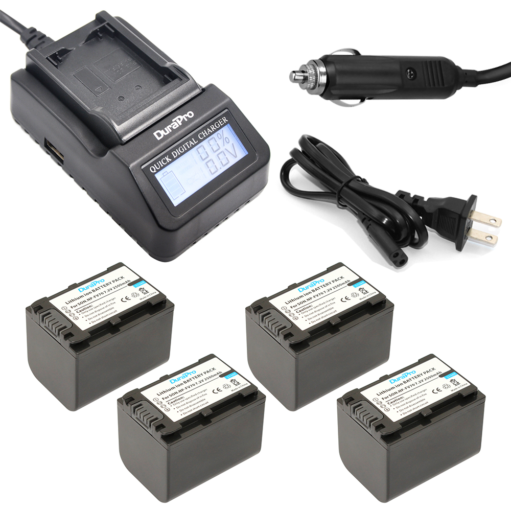 DuraPro 4pcs NP-FV100 Digital Camera Battery +LCD Ultra Quick Charger for Sony NP-FH30 NP-FH40 NP-FH50 NP-FH60 NP-FH70 NP-FH90 digital camera battery charger for sony np bni 100 240v