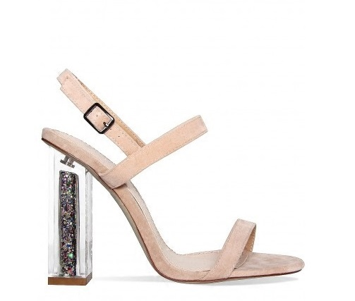 2017 Newest Women Solid Pink And Black Ankle Buckle Strap Strange Transparent Heel Sandals Summer Peep Toe Square Heel Shoes stylish women s peep toe shoes with buckle strap and chunky heel design