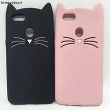 Cute Case For OPPO F5 Cover Silicon Black Pink Glitter Beard Cat 3D Cartoon Gel Coque Shell