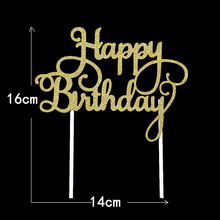 Gold Silver Glitter Paper Happy Birthday Cake Toppers