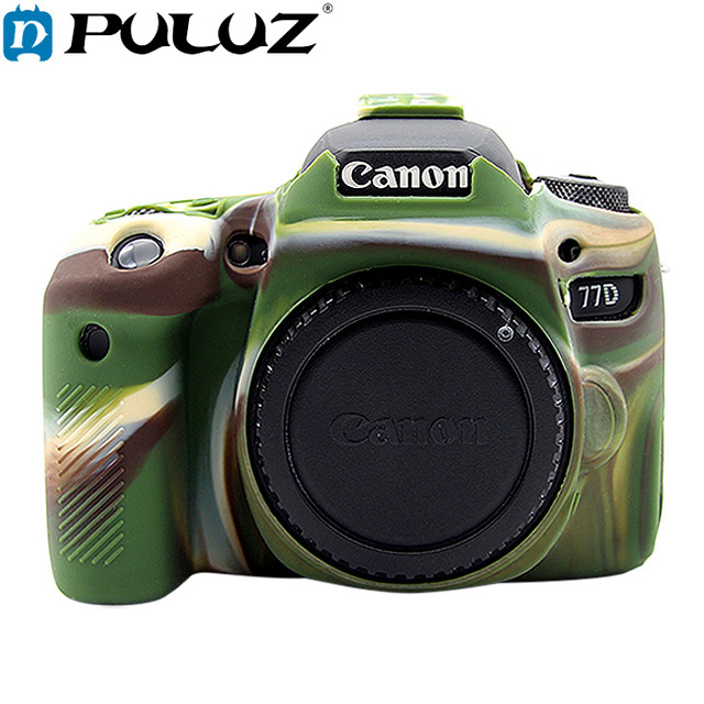 US $13 75 15% OFF|PULUZ Cover Case for Canon EOS 77D Soft Silicone Rubber  Camera Protective Body Cover Case Skin Camouflage Yellow Camera Bag-in