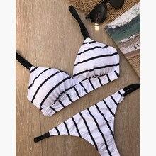 Black White Stripes Women Push Up Bikini Beach Swimwear Swimsuit Swimming Bathing Swim Suit Maillot De Bain Femme Bikinis 2019 white stripes bodycon swimsuit