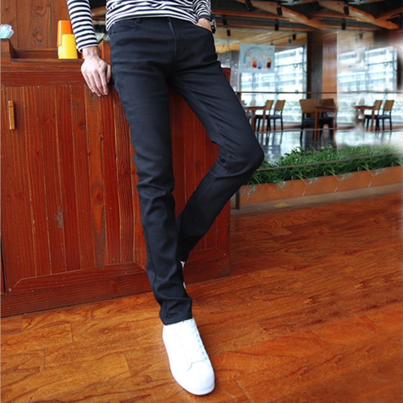 89e4b9c444ddb Moda Hombre Jeans 2016 Stretch Hombre Ropa Pantalones Lápiz Negro  Pantalones de Mezclilla Larga Caballero Delgado Gimnasio Jeans Rectos K07